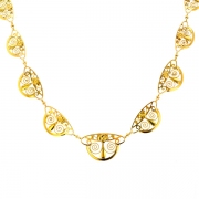 Collier en chute maille filigrane ART DECO en or jaune 12.42grs